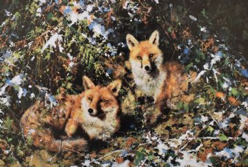 David Shepherd Signed Limited Edition Print Winter Foxes